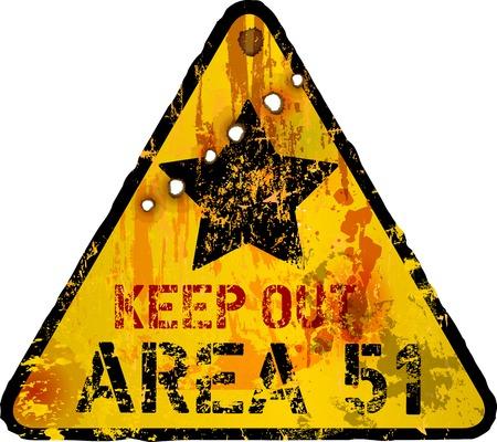 grungy Area 51 waarschuwing, vector Stock Illustratie