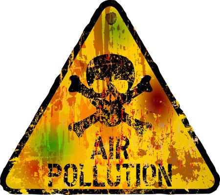 caution: air pollution warning sign, vector illustration, fictional artwork