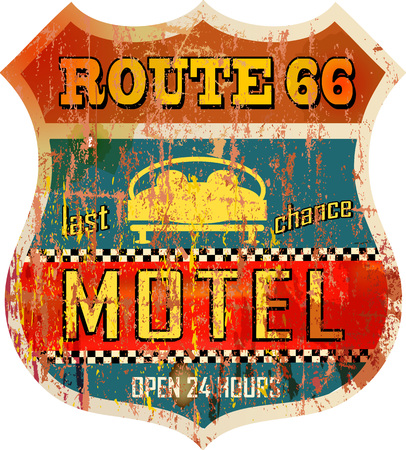 urbane: Retro Route 66 Motel sign, vacation, vector, fictional artwork Illustration