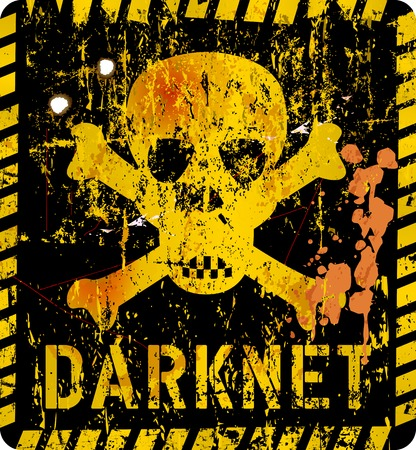 trajan: darknet, cybercrime warning sign, grungy style, vector illustration, artwork ficitonal