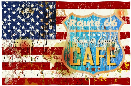 diners: route sixty six cafe sign, stars and stripes, retro style, vector illustration,fictional artwork Illustration