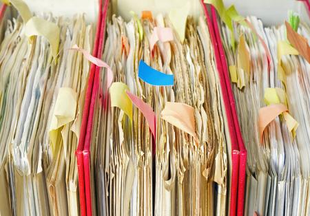 tabulate: messy file folders, close up, selective focus Stock Photo