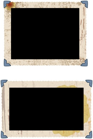 fictional: grungy photo frames w. photo corners, vector illustration, fictional artwork