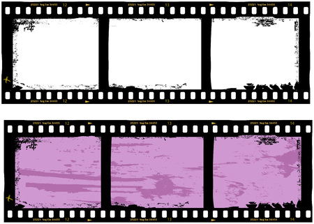 frame of film, grungy photo frame,with free copy space,vector,fictional artwork Vettoriali