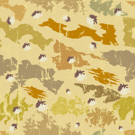 seamless grungy desert camouflage pattern, vector, fictional artwork Illustration