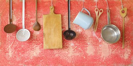 vintage kitchen: vintage kitchen utensils, cooking concept, free copy space