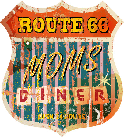 66: vintage route 66 diner sign, retro style, vector illustration