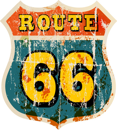 routes: vintage route 66 road sign, retro style, vector illustration