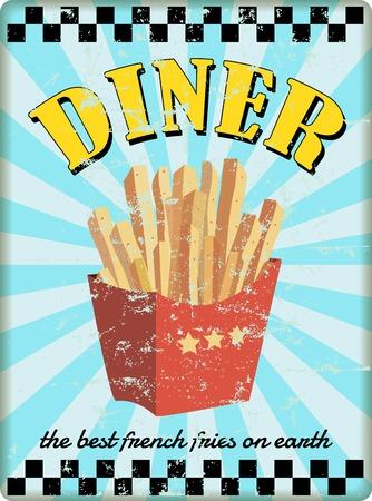 frances: signo comensal retro, con las patatas fritas. vector. obra de ficción Vectores