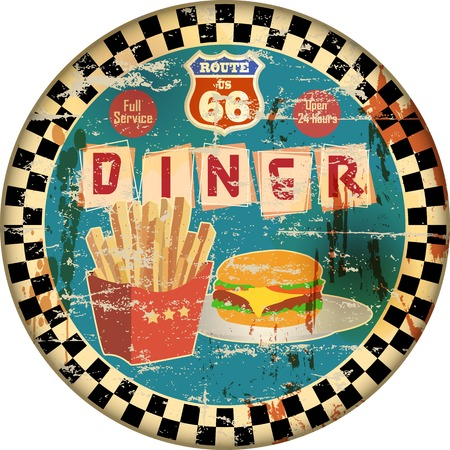 frites: retro american route sixty six diner sign, vector Illustration, fictional artwork