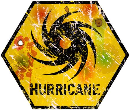 ハリケーンの警告のサイン、重い風化、ベクター eps 10