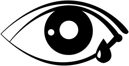 weep: eye with a tear, flat design, vector
