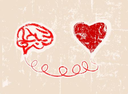 humanismo: corazón y el cerebro conectado, concepto, obra de ficción Vectores