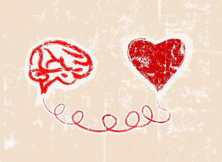 humanism: heart and brain connected, concept,  fictional artwork Illustration