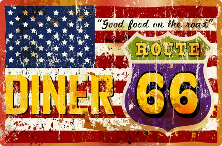 routes: Route 66 Diner sign, retro style, vector illustration Illustration