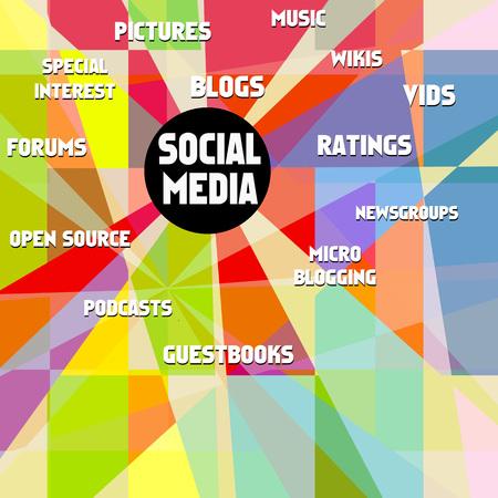 wikis: social media illustration, vector, free copy space, fictional artwork Illustration