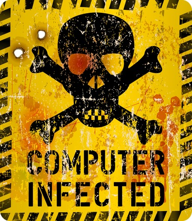 infection: computer virus infection warning sign,grungy style, vector illustration Illustration