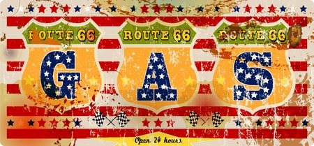 routes: grungy retro route 66 gas station sign, vector illustration, fictional artwork Illustration