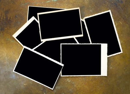 set of empty vintage photos, frames with deckle edge Stock Photo