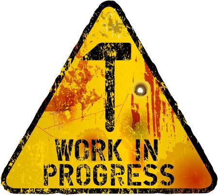 dangerous work: website maintenance sign,grunge style, fictional artwork, vector