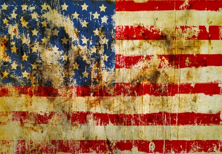 peeled off: grungy american flag on weathered wall, fictional design