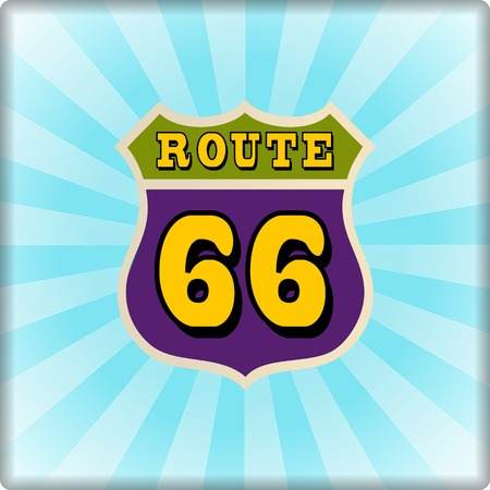 highway 6: vintage route 66 road sign, retro style, vector illustration