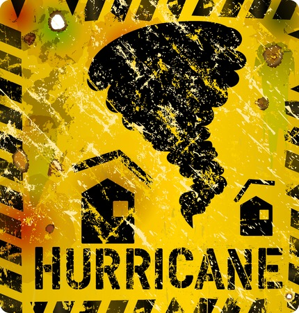 heavy: hurricane warning sign, heavy weathered Illustration