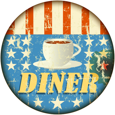 diner: retro diner sign, grungy style