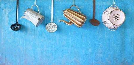 enamel: vintage enamel kitchen utensils, free copy space Stock Photo