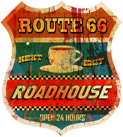 66: Vintage route 66 roadhouse sign