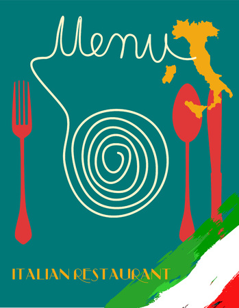 restaurante italiano: Menu for Italian restaurant, fictional artwork, free copy space Vectores