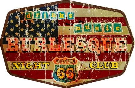 retro restaurant: weathered route 66 xxx night club sign, retro style