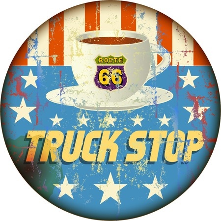 truck driver: route 66 truck stop sign, retro style, vector illustration Illustration