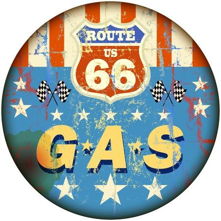 Vintage-Tankstelle Zeichen auf der Route 66 Vektorgrafik