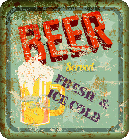 vintage sign: vintage rusty beer sign, vector illustration
