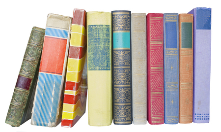 information medium: row of old books,isolated on white background Stock Photo