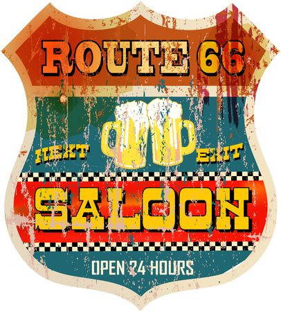vintage sign: Vintage route sixty six saloon or beer bar sign, vector Illustration