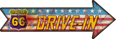 battered: battered route 66 drive in sign, retro style, vector illustration Illustration