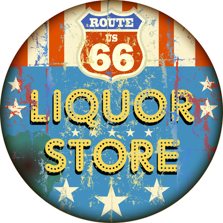 advertisement: vintage liquor store sign on the route 66, vector eps 10