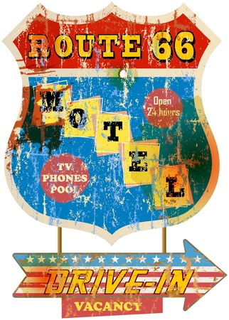 vintage sign: retro route 66 motel sign, vacation, vector, fictional artwork