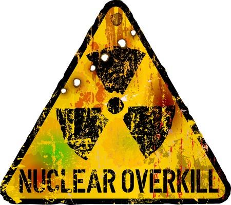 atomic: nuclear overkill warning sign, vector illustration,