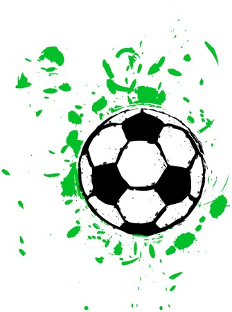 stage coach: grungy soccer ball, vector Illustration