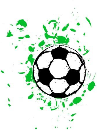 career coach: grungy soccer ball, vector Illustration