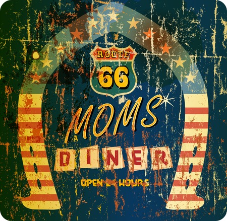 routes: vintage retro route 66 Diner sign, vector,grunge style