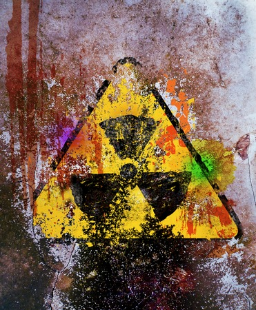 hazardous waste: grungy nuclear radiation warning sign, free copy space