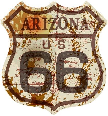 ヴィンテージ ルート 66 を道路標識、レトロなスタイル、架空のアートワーク、汚れたベクトル イラスト