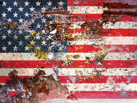 peeled off: grungy american flag