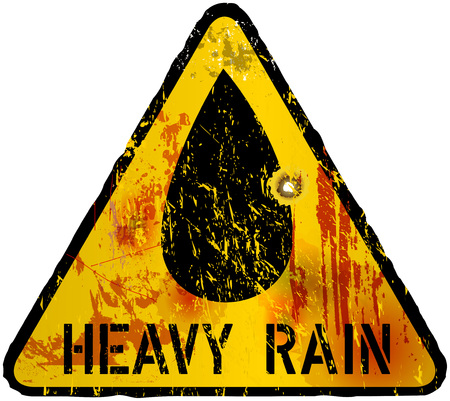alert: heavy rain warning sign,  vector