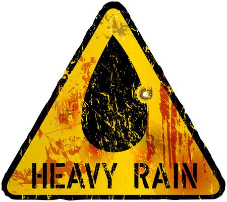 alerta: señal de advertencia fuertes lluvias, vector Vectores