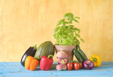 good food: vegetables and fruit, healthy food, good copy space Stock Photo